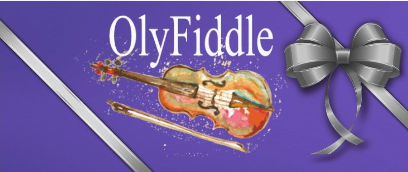 OlyFiddle Logo in purple gift envelope with silver ribbon and bow